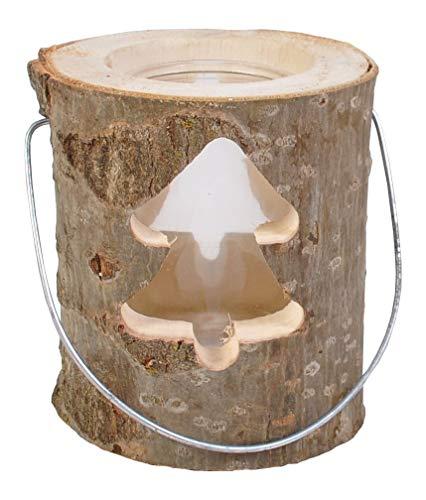 Baumstamm-Laterne mit Glaseinsatz + Kerze Windlicht Weihnachtsdeko Garten Winter, Variante:Tanne