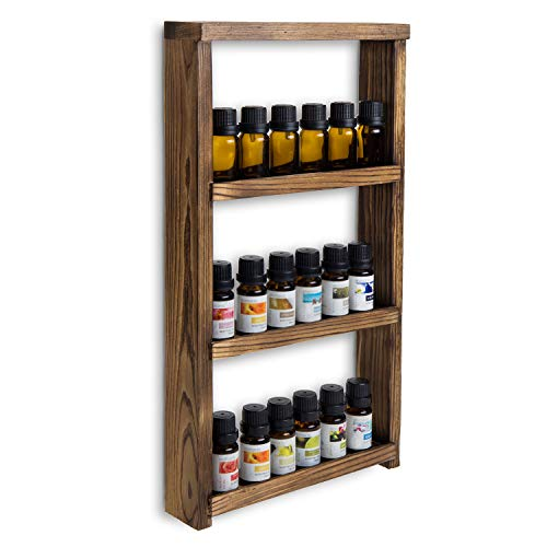 MyGift 3-Tier Rustic Dark Brown Burnt Wood Wall-Mounted Essential Oil/Nail Polish Retail Display Shelf Rack