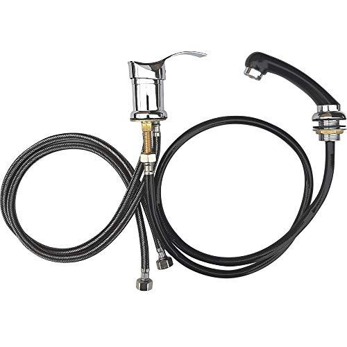 VAKON SALON - Standard Einhebel-Mischbatterie Waschbecken, Duschkopf Handbrause mit Schlauch, Friseurarmatur für Waschsessel und Friseurwaschanlage