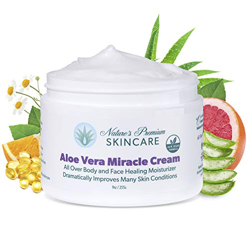 Natural and Organic Face Moisturizer Cream - 100% Organic Aloe Vera - Face Cream for Women - Aloe Vera Cream for Sensitive and Dry Skin - Anti Aging Face Moisturizer for Women and Men - Face Lotion for Women - Aloe Vera Moisturizer for Face and Body - All Natural Skin Moisturizer Cream for Face, Hands, Feet & Body - Aloe Lotion for Dry Skin, Eczema, Psoriasis & More - 9 oz