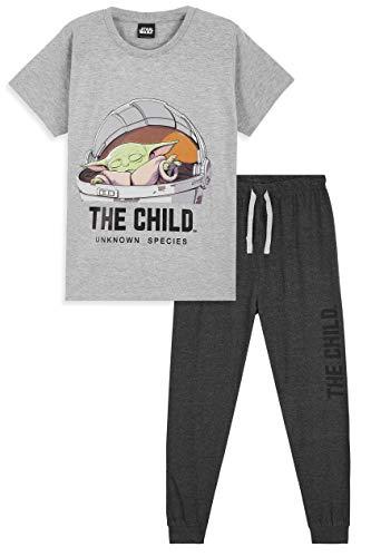 Star Wars Pijama Niño, Baby Yoda Pijama Niño Invierno, Conjunto 2 Piezas Camiseta Manga Corta y...