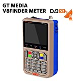 GT Media V8 Satellite Finder Signal Meter Upgraded TV DVB-S2/S2X Receiver Sat Detector, HD 1080P Free to Air FTA 3.5' LCD Built-in 3000mAh Battery for Adjusting Sat Dish