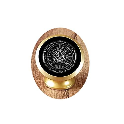 Collar con colgante de cadena de plata vintage de la rueda del año con el logotipo de Pagan