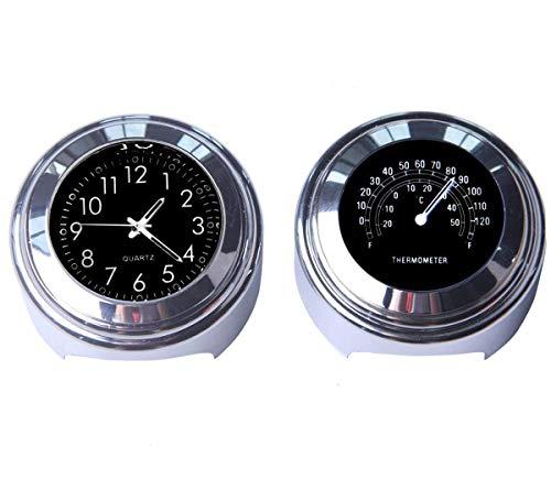 Maso Motorrad-Lenkeruhr und Thermometer, universal, wasserdicht, für Motorrad-Lenker, Schwarz, 2 Stück