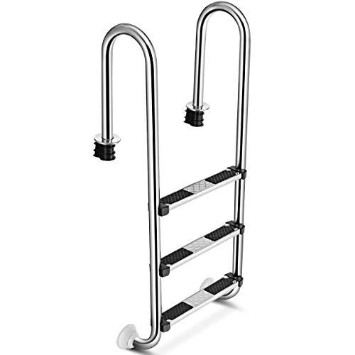 GYMAX Schwimmbadleiter mit 3 Stufen, Poolleiter aus Edelstahl, Einstiegsleiter Sicherheitsleiter mit Antirutschpads, bis 150 kg belastbar, 55 x 25 x 132,5 cm, für Pool & Schwimmbecken, Silber
