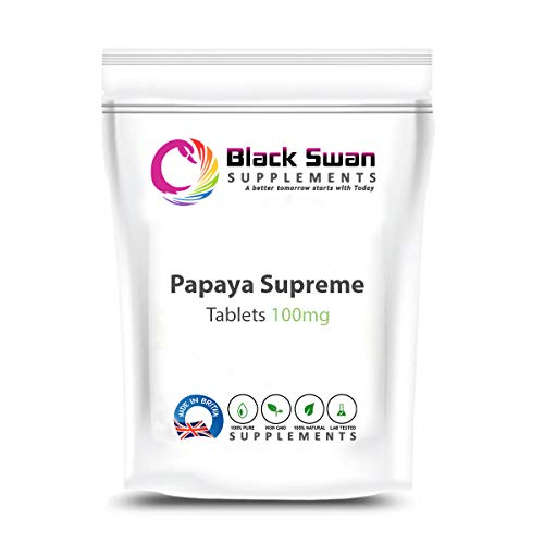 Black Swan Papaya Supreme 100mg Tablets - UK Papain Supplement Protein Digestion – Support Digestion, Healthy Joints, Weight Loss (60 tabs)