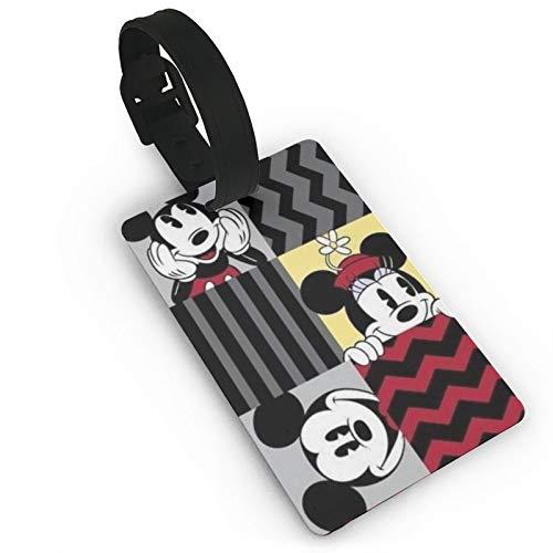 DNBCJJ Etiquetas de equipaje para maletas Mickey Mouse patrones (4) etiqueta de equipaje, con nombre ID maleta para mujeres, hombres y niños accesorios de viaje