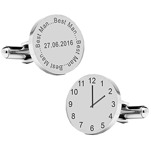 A4clo013-best Man. Spécial Temps cufflinks-personalised-mens-gift-engraved-wedding