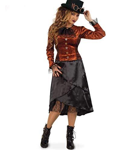 KarnevalsTeufel Steampunk-Kleid Rüschen-Kragen schwarz Rock Bluse adlige Verkleidung (40)