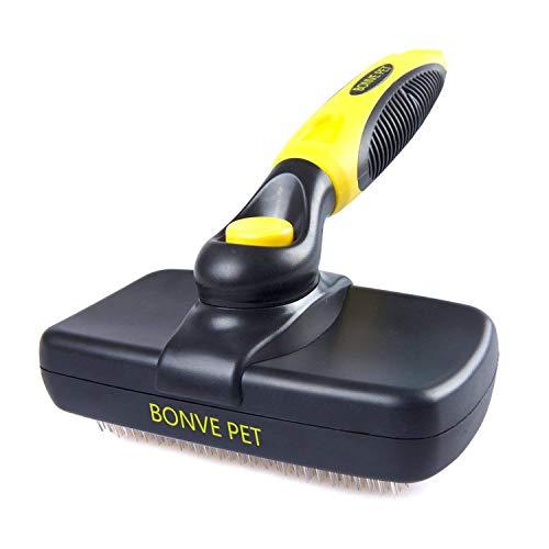 Bonve Pet Hundebürste, Selbstreinigende Bürste| Katzenbürste| Unterfellbürste, Schnelle Reinigung für Kurze| Langeoder Feine| Borstige Haare von Hunde, Katzen und Pferde