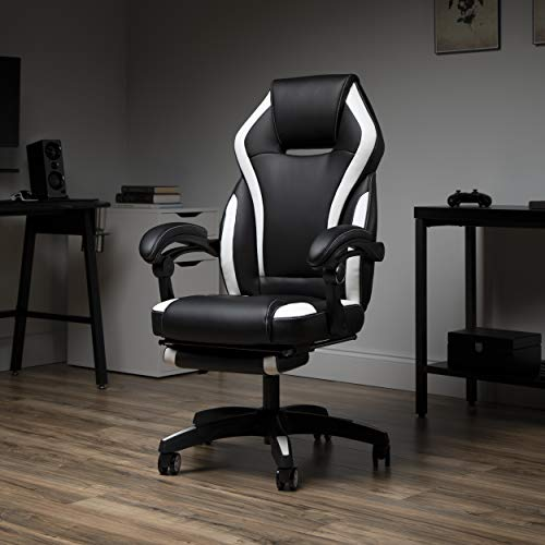 OFM Reclining Gaming Chair with footrest, White