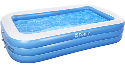 Duerer Inflatable Swimming Pools, Inflatable Pools, Full-Sized Family Blow up Pool for Kids Toddlers Adults, Lounge Inflatable Pool for Backyard Garden Outdoor, Easy Set - 300cm x 182cm x 56cm