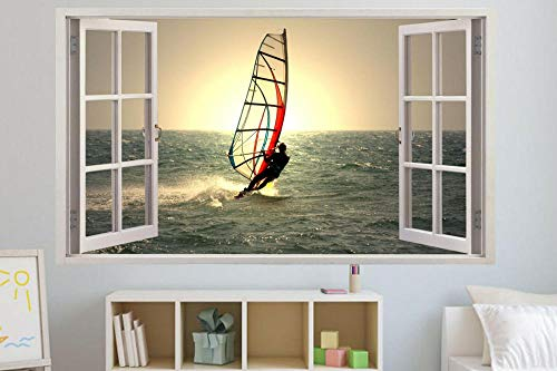 Wandtattoo WIND SURFER AUF MEER SONNENUNTERGANG 3D WINDOW WALL STICKER RAUM DEKORATION AUFKLEBER MURAL-60x90cm