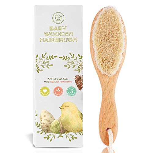 Baby Hair Brush for Newborn - Natural Wooden...