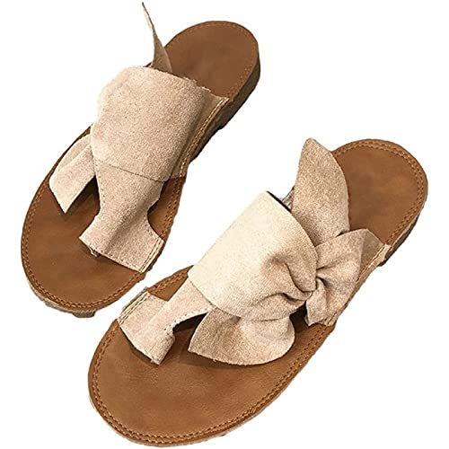 Sandalias Ortopédicas para Mujer, Correction Suede Summer Zapatillas Flatform Bowknot Open Toe Cómodo Transpirable Moda Ladies