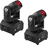SHEHDS Mini LED Spot Beam 10W Lighting Moving Head Lights 4in1 RGBW Stage Lights Professional 11/13 DMX Channels DJ lights for DJ Disco Club Party Dance Wedding Bar Christmas - 2 Pack