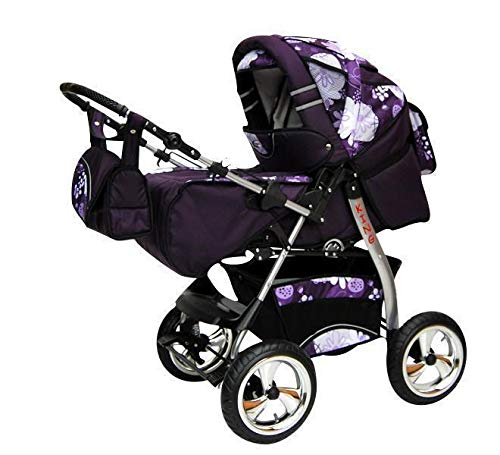 Kinderwagen met autostoel Isofix alles in een 3-in-1 combikinderwagen King by ChillyKids 3in1 mit Autositz Purple & Flower