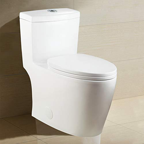 Winzo WZ5028 Elongated One Piece Toilet, High Efficiency Dual Flush 0.8/1.6 GPF, 17-Inch ADA Comfort Height with Soft Closing Seat White