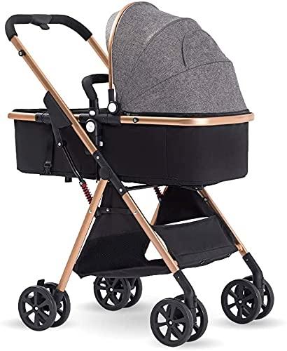 Cochecito de bebé, cochecito de reclinación convertible, cochecito anti-shock de carro de cochecito plegable y portátil con marco de aleación de aluminio, arnés de 5 puntos y cesta de alta capacidad