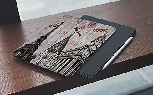 MEMETARO Funda para iPad (9,7 Pulgadas 2018/2017 Modelo), Ciudad Vintage París Londres Arquitectura Edificio Torre Eiffel La Galería Nacional Smart Leather Stand Cover with Auto Wake/Sleep