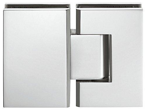 Bad-Türscharnier verchromt poliert Glastürbeschlag Messing Duschtürband für Glastüren und Duschen | für 180 ° Glasfront | Duschkabinen-Scharnier für Glas zu Glas Verbindung | Glastürband | 1 Stück