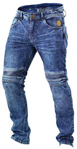 Trilobite Micas Motorrad-Jeans für Herren, im modernen Slim-Fit-Stil, Blau (Blue Washed), 36