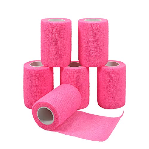 GooGou Self Adherent Wrap Bandages Self Adhering Cohesive Tape Elastic Athletic Sports Tape for Sports Sprain Swelling and Soreness on Wrist and Ankle 6PCS 3 in X 14.7 ft (Pink)