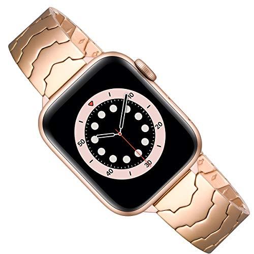 AOYU Compatible con Apple Watch, pulsera de 42 mm, 44 mm, 38 mm, 40 mm, de metal, con forma de estrella, correa de repuesto compatible con iWatch Series 6/5/4/3/2/1, SE (42 mm, 44 mm, oro rosa).