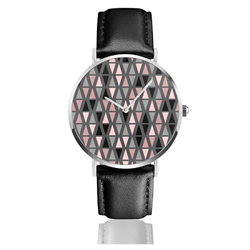 Armbanduhr mit geometrischem grauem Zifferblatt und Korallenlederarmband, klassisch, Edelstahl, Quarzuhr