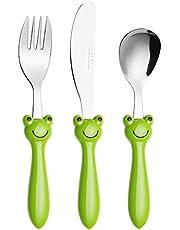 Exzact kinderbestek 3-delige set roestvrij staal/kinderbestek/peutergereedschap/bestek - 1 x vork, 1 x veilig dinermes, 1 x dinerlepel - kikker