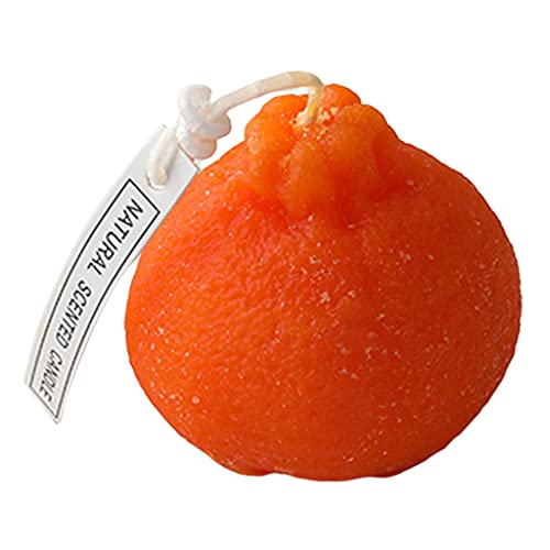 Desconocido Generic Novedad Velas aromáticas en Forma de Fruta Velas de SOYA Naturales aromaterapia Velas aromaterapia Luz de té-sin Humo, de Larga duración, Decorativas - Naranja S