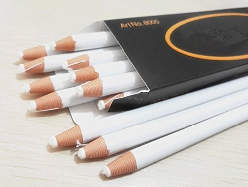 Markers Pencils, BeeSpring 12PCS Peel Off Markers Pencils Crayons Chinagraph Grease Wax Pencil For Cloth, Leather, Metal, Etc. (White)