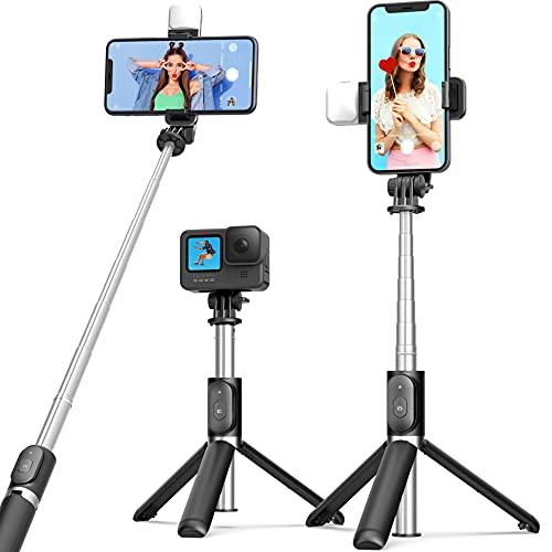 ARTOFUL Palo Selfie Trípode con luz de Relleno, Extensible Selfie Stick con Mando a Distancia Inalámbrico 270° Rotación Compatible con Teléfonos Inteligentes, GoPro y Cámaras