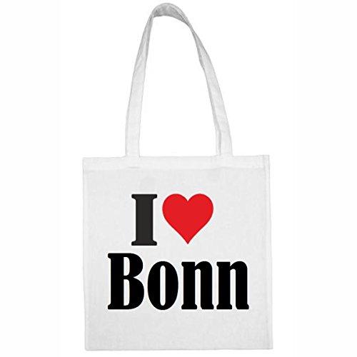 Tasche I Love Bonn Größe 38x42 Farbe Weiss Druck Schwarz