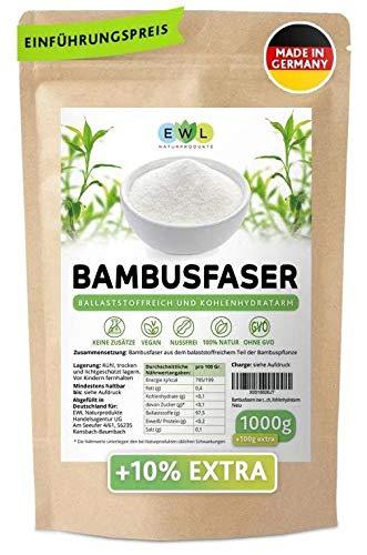 Bambusfasern 1000g + 100g extra XXL Vorteilspack │Herkunftsland u. hergestellt in Deutschland│Kontrollierte Qualität│ Bambusfaser Mehl │Fein und schonend Vermahlen 1,1kg