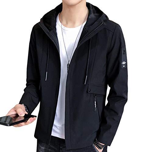 EASTEMPO ジャケット メンズ 長袖 無地 春秋 カジュアル おしゃれ 軽量 おおきいサイズ (ブラック, L)