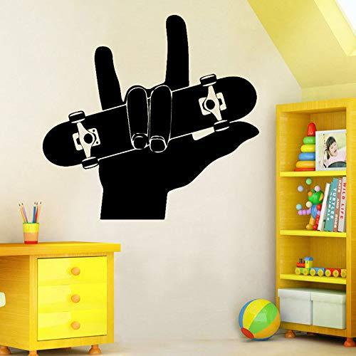 Finger Skateboard Wandaufkleber PVC Material DIY wasserdicht Wandbild Teen Zimmer Wohnzimmer Sofa Hintergrund Dekoration Aufkleber A5 60x57cm
