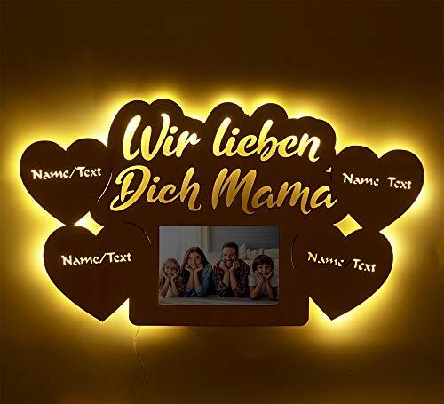 Muttertagsgeschenk LED Geschenkideen zum Geburtstag für die Mama Mutter personalisiert mit Namen Gravur Bilderrahmen 10 x 15 cm