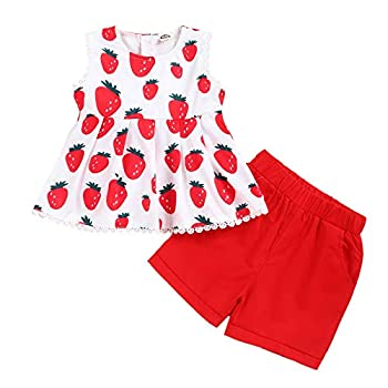 Toddler Kids Baby Girl Clothes Sets Sleeveless Skirt Fruit Tops Shorts Outfits Summer Clothes 18-24 Months
