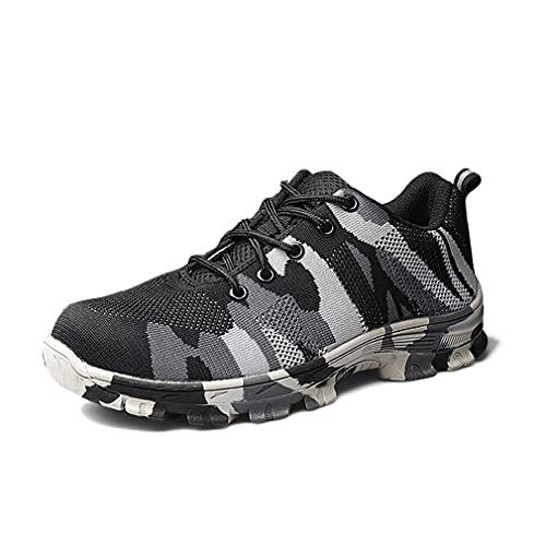 Camuflaje Calzado de Seguridad para Hombre - Botas de Protección Industriales Zapatillas con Puntera de Acero Calzado de Trabajo Ligero Calzado utilitario Calzado de Exterior Transpirable Ligero