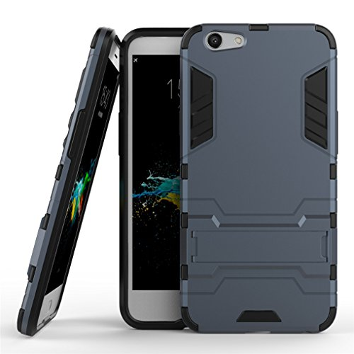 Oppo F1s / A59 / A59s Case, SATURCASE Hybrid 2 in 1 [PC & Silicone] Dual-Layer Bumper Protective Case Cover with Kickstand for Oppo F1s / A59 / A59s (Navy)