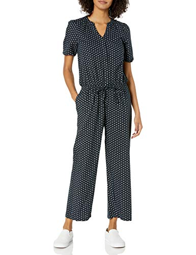 Amazon Brand - Goodthreads Women's Relaxed Fit Washed Linen Blend Button Front Jumpsuit, Black Floral Dot, 12