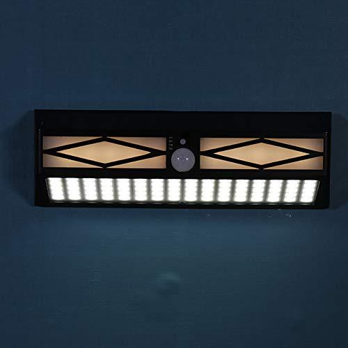 WWLONG Luz de Pared Hueca Solar, lámpara de Seguridad con Sensor de Movimiento para Exteriores, Luces de Pared duraderas e Impermeables para Puerta Principal, Patio, Garaje, Valla, terraza-A