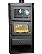 Estufa de leña con horno fabricada en acero y con una potencia de calefacción de 12 kW