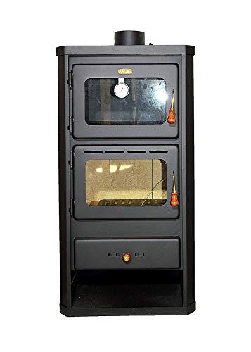 Stufa a legna con forno. In acciaio. Potenza di riscaldamento 12 kW