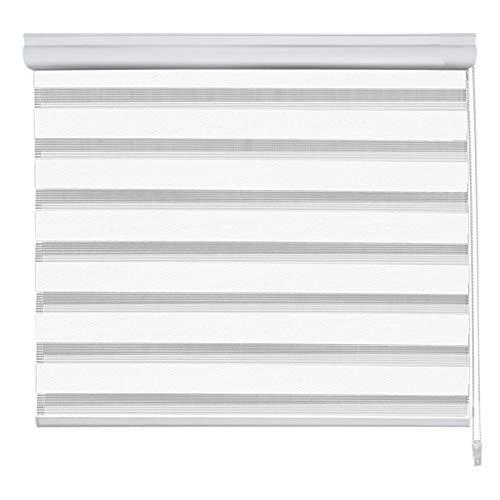 Floordirekt Doppelrollo   Mini Day & Night   moderner Sichtschutz   Mit Alu-Kassette   6 Farben & viele Größen (45 x 150 cm, Weiß)