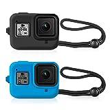 Kupton - Funda Protectora de Silicona y cordón para GoPro Hero 8 (Color Negro y Azul)