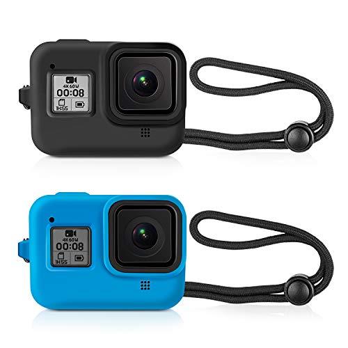 Kupton Schützende Silikonhülse Fällen für GoPro Hero 8 Black(Silikon, mit Trageband, Schutzhülle) für Hero8 Action-Kamera-Zubehör (Schwarz + Blau)