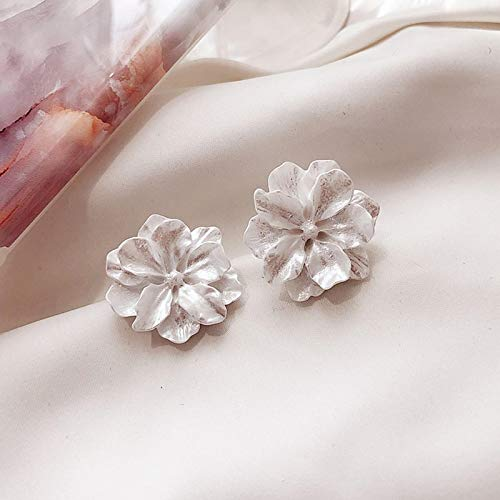 FEARRIN Pendientes de aro Pendientes Bijoux boucles d'oreilles Estéreo Tallado Patrones Flores Diseños en Resina Pendientes Temperamento Mujeres contratadas Pendientes de botón