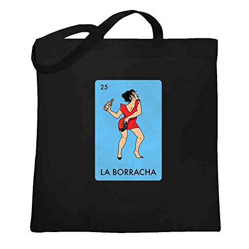 La Borracha Drunk Woman Mexican Lottery Funny Parody Black 15x15 inches Large Canvas Tote Bag Women